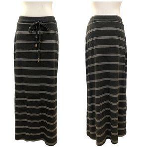 Seven 7 charcoal gray maxi skirt horizontal stripe
